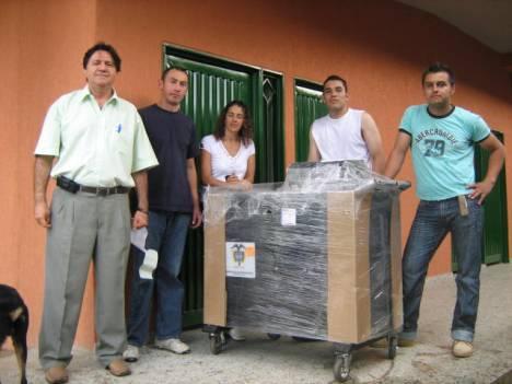 Rector Libardo Perdomo, Viviana Restrepo y transportadores del MEN